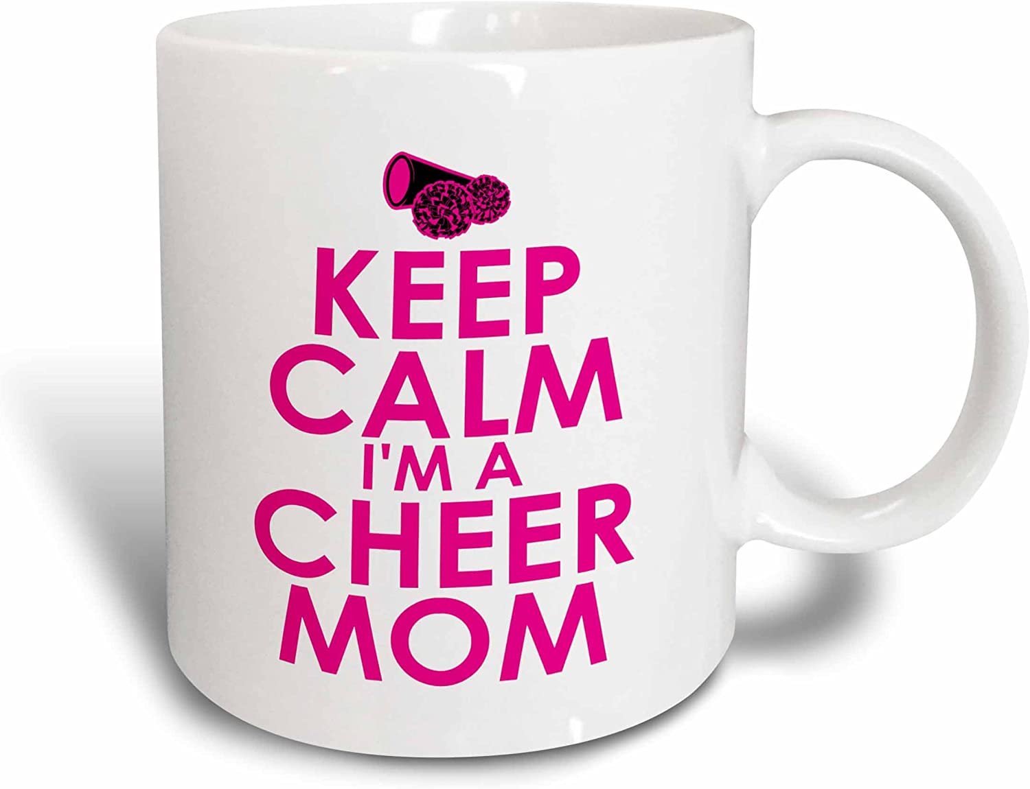 3dRose mug_200825_1 Keep Calm Im a Cheer Mom Pink Ceramic Mug, 11-Ounce