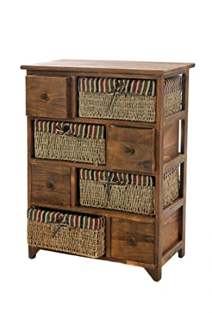 BROWN WOODEN WICKER MAIZE BASKET STORAGE LARGE CHEST CABINET RETRO DRAWER  UNIT WOODEN MAIZE WICKER BASKET