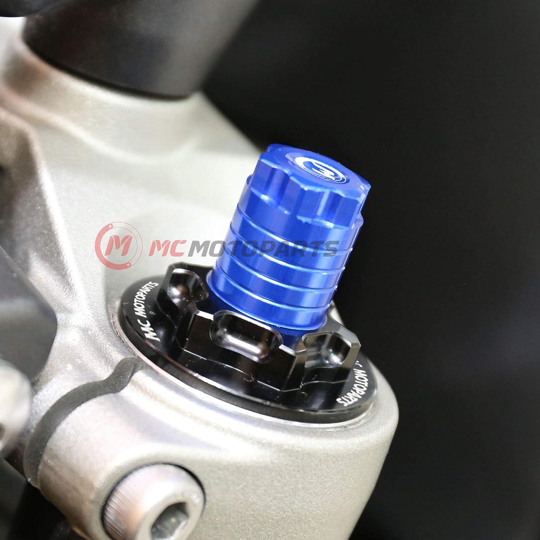 MC MOTOPARTS Black CNC Fork Preload Adjusters 41MM Fork For Yamaha YZF R3 15-17 18 16 XVS 650 97-00 XVS 1100 00-11 XT600 90-00 XT400 9