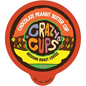 Crazy Cups Flavored Coffee for Keurig K-Cup Machines, Decaf Chocolate Peanut Butter Cup, Hot or Iced Drinks, 22 Single Serve, Recyclable Pods