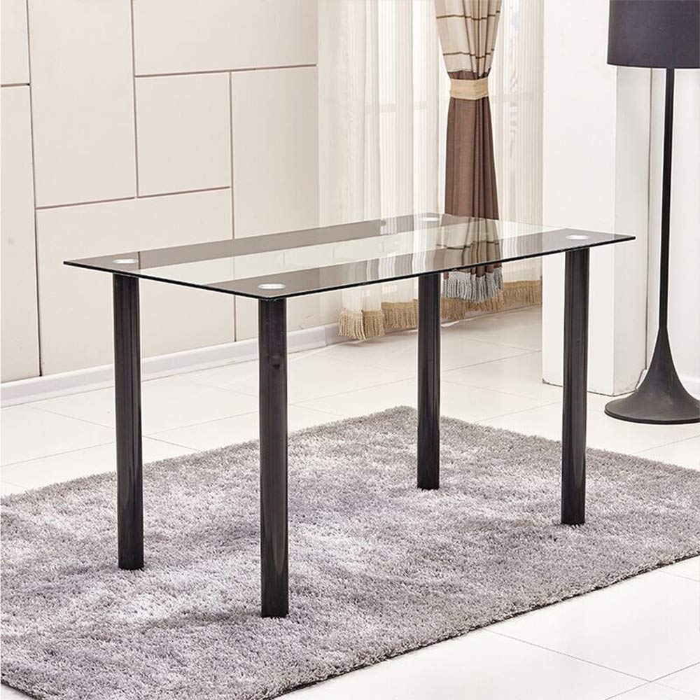 Huisen Furniture Modern Glass Dining Room Table Only for Small Kitchen Tempered Glass Top with Chrome Leg Rectangular Table for 4//6//8 People Use
