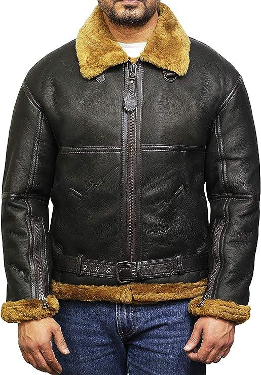 BRANDSLOCK Chaqueta de Cuero para Hombre del Aviador de Piel de Oveja de Piel de Oveja: Amazon.es: Ropa y accesorios