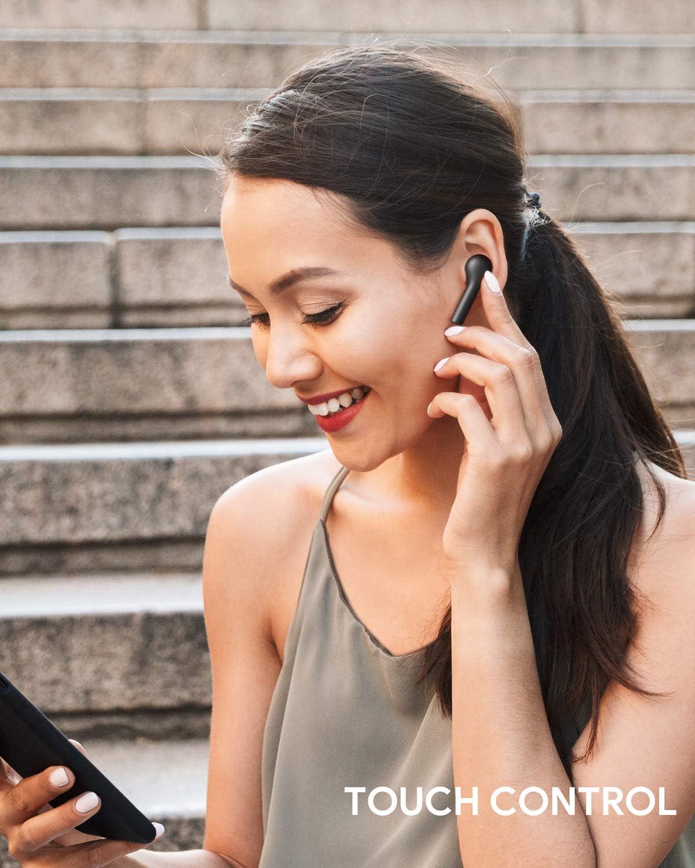 verst/ärkt Aukey Bluetooth-Kopfh/örer f/ür Samsung iPhone Huawei kabellos schwei/ßfest 5.0 Bass integrierte Mikrofone Touch Control mit Ladeh/ülle 25 Stunden Betriebszeit