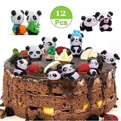 Amazon Com Mity Rain 12 Pack Cute Panda Cake Toppers Party Favors