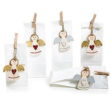 5 Stück Kleine Geschenk Verpackung Engel Rot Gold Silber