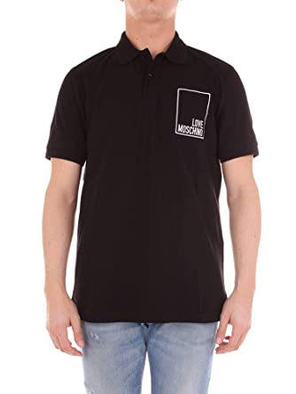 6aa895463 Image Unavailable. Image not available for. Color: Love Moschino Men's  M830411e1809c74 Black Cotton Polo Shirt