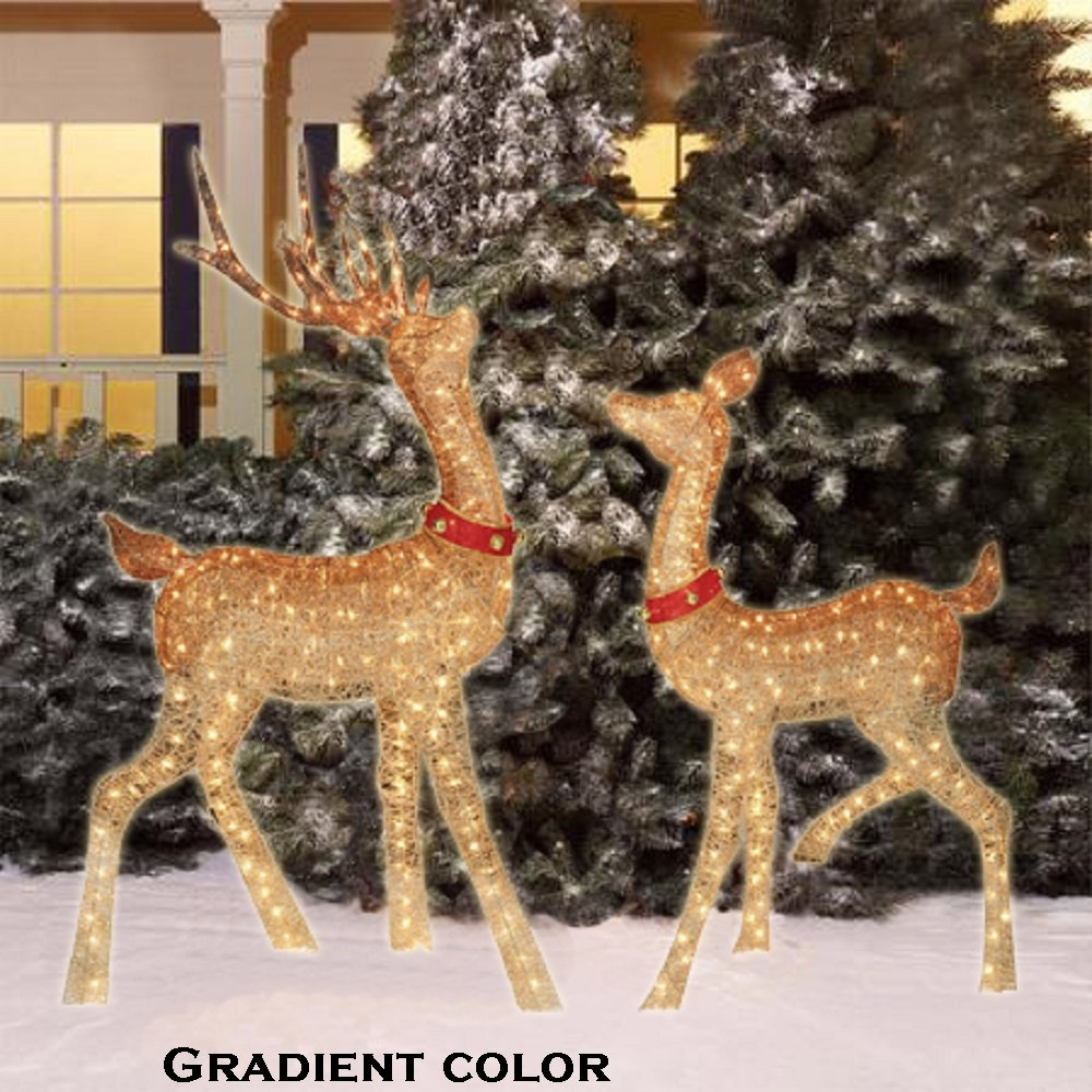 set of two gold lighted christmas reindeer for outdoor decoration - Christmas Reindeer Decorations