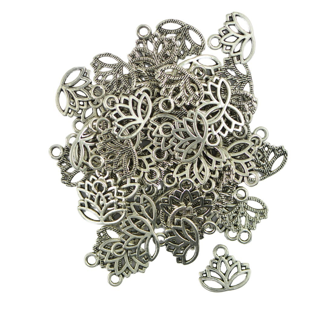 50pcs Filigree Hollow Lotus Flower Cut Pendant Charms Jewelry Making Findings DIY Generic
