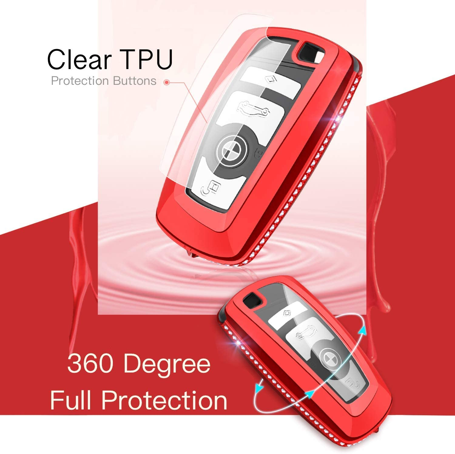 Tukellen for for BMW Key Fob Cover Diamend with Soft TPU Key Case Shell Pouch for BMW 1 3 4 5 6 7 Series and X3 X4 M5 M6 GT3 GT5 Keyless Entry Key Cover-Red