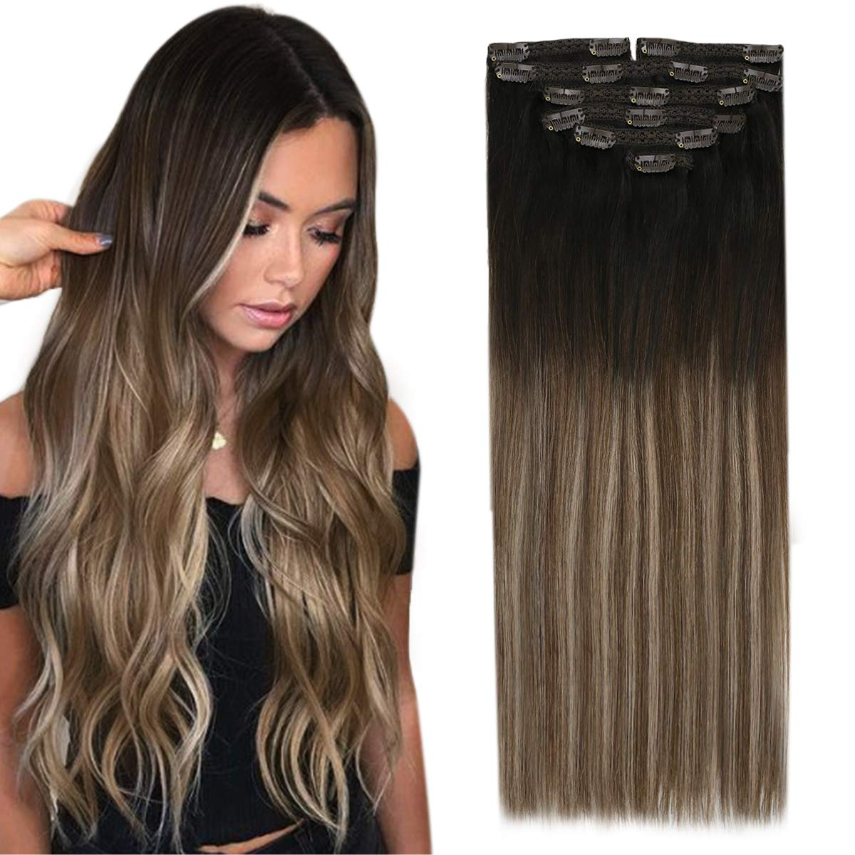 Clip in Human Hair Extensions Natural Black Ombre Brown Mix Ash Blonde  Balayage Clip on Extensions Remy Human Hair Double Weft 12inch 12PC 12G
