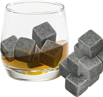 Grenhaven 9pcs Whisky Pierres Ice Cubes Glaçons stéatite Glacons en Pierre avec Sac de Cordon refroidisseurs de Boissons Bière Rocks glacon Whisky