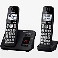PANASONIC DECT 6.0 Expandable Cordless Phone System with Answering Machine and Call Blocking 2 Handsets - KX-TGE432B…