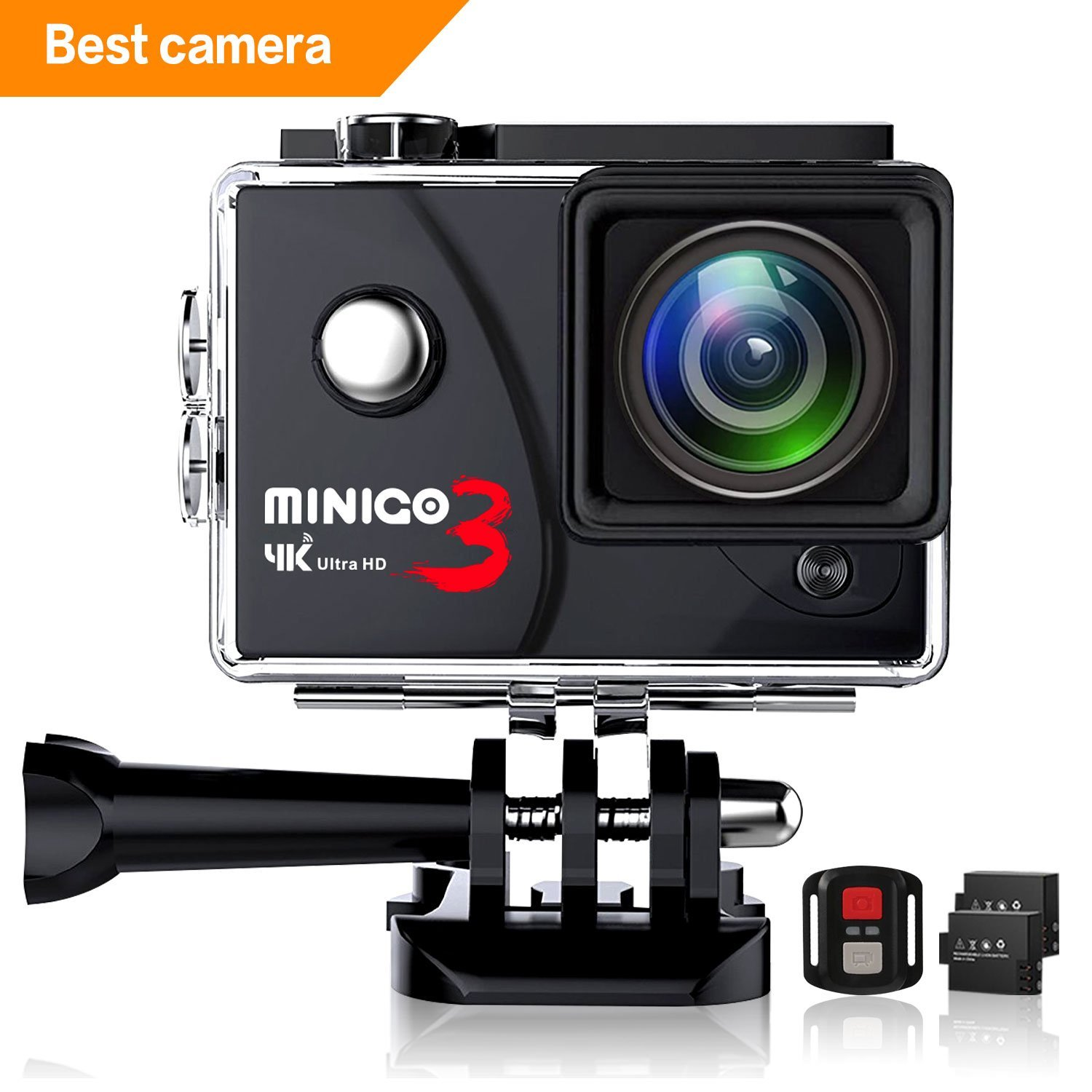 MINIGO 2.7K/4K waterproof camera, 16MP action camera work of the case underwater up to 100FT, 2.0'' screen with Sony sensor, 2 Rechargeable batteries and Remote, Rich mounting accessories kit, Black
