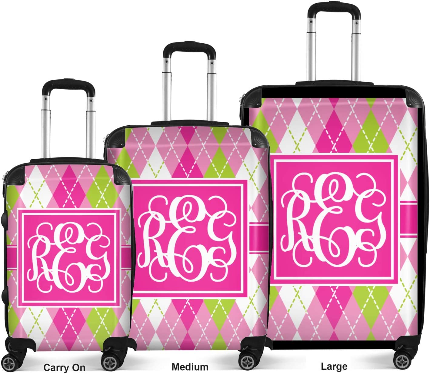 24Medium Pink /& Green Argyle Suitcase Checked Personalized