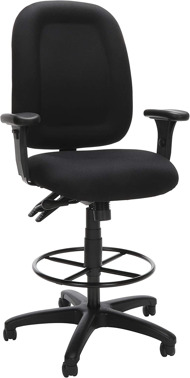 OFM Core Collection Ergonomic Task Chair with Arms and Drafting Kit, Mid Back, in Black