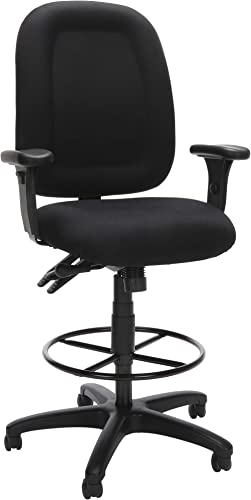 OFM Core Collection Ergonomic Task Chair with Arms and Drafting Kit, Mid Back, in Black 125-DK-805