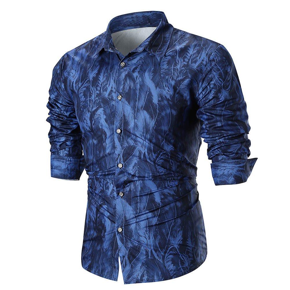 Mose Slim Shirt for Men, Personality Men's Summer Casual Slim Long Sleeve Printed Shirt Top Blouse (Blue, 3XL)