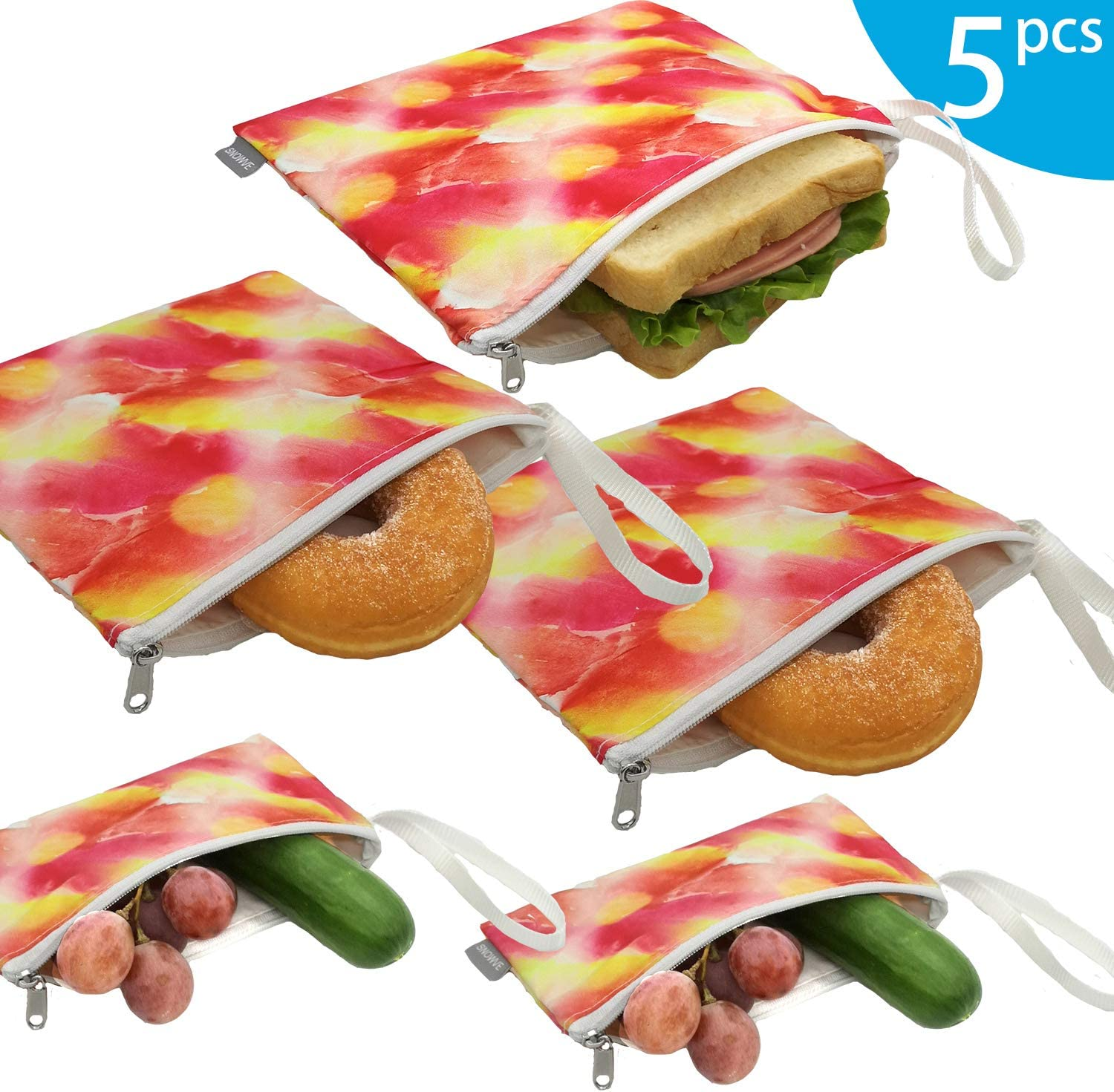 Reusable Snack Bags Sandwich Bags - Dual Layer Eco Friendly Dishwasher Safe Lunch Baggies, BPA Free, PVC Free, Set of 5 Pack(Sunshine)