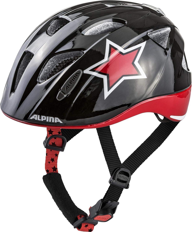 ALPINA Ximo Flash子供用自転車用ヘルメット - ブラック/レッド/ホワイトスター、4751 cm   B07GZJN4XR