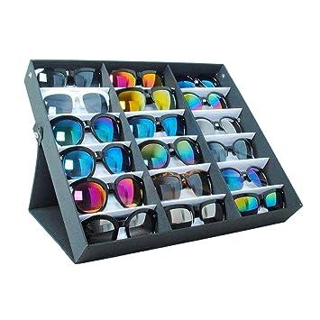 Buyi-World Vitrina para Gafas de Sol de 18 Piezas Caja de Almacenamiento Organizador de la Vivienda Gafas para Puertas 47.5 × 37.5 × 6cm, Joyero Negro ...