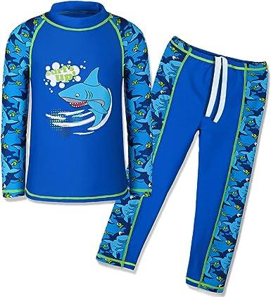 2pcs Baby Kids Boys Sun Protective Swimwear Rash Guard Costume Bathing Suit 2-7Y