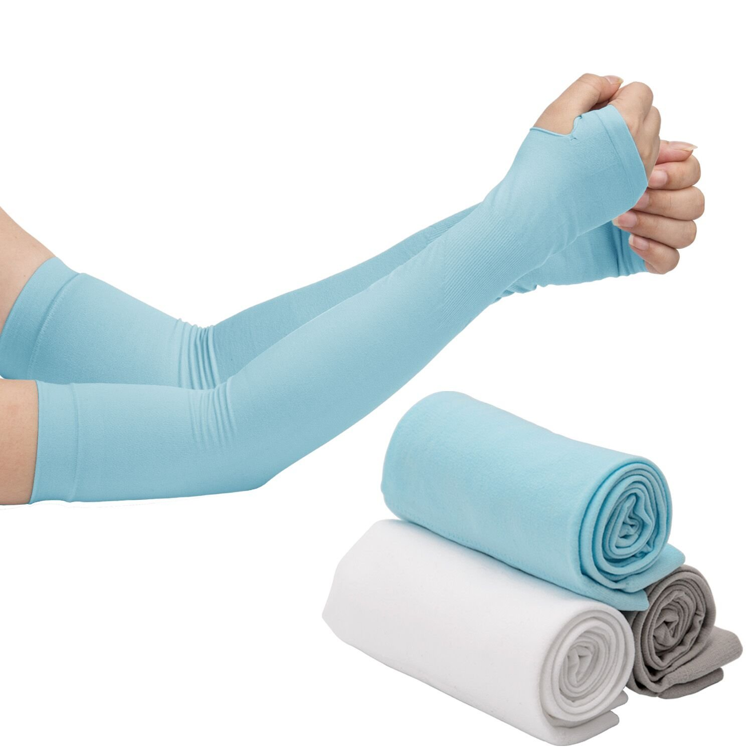 LUTER Arm Sleeves, UV Sun Protection Arm Cooling Sleeve Covers, Anti Mosquito Bites and Compression Design for Cycling/Golf/Running/Basketbal/Driving/Climbing For Men Women