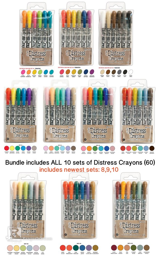 Tim Holtz Bundle of 60 Distress Crayons | All 10 Sets | Set 1, 2, 3, 4, 5, 6, 7, 8, 9, 10 by Ranger Ink