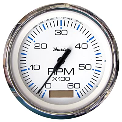 "Faria 33832 Chesapeake Tachometer Gauge with Hourmeter Gas-White SS, 4"": Automotive"