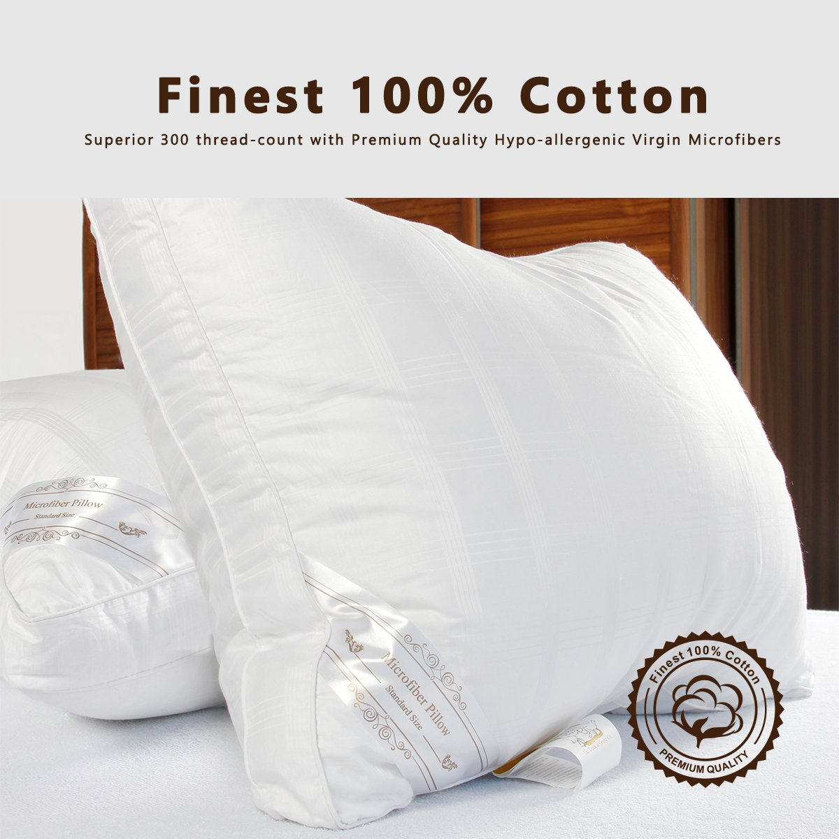 DUCK & GOOSE Premium Hotel Quality Luxury Down Alternative White Microfiber Pillow, Hypo-Allergenic, 100% Cotton with Elegant Design(48 * 74CM-19 * 29