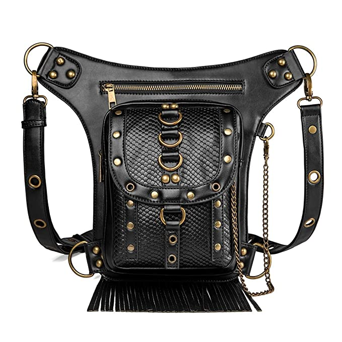 191fc5004f8 Steampunk Leather Crossbody Shoulder Purse Tote Handbag Motorcycle Drop Leg Bag  Hip Holster Waist Bag Fanny
