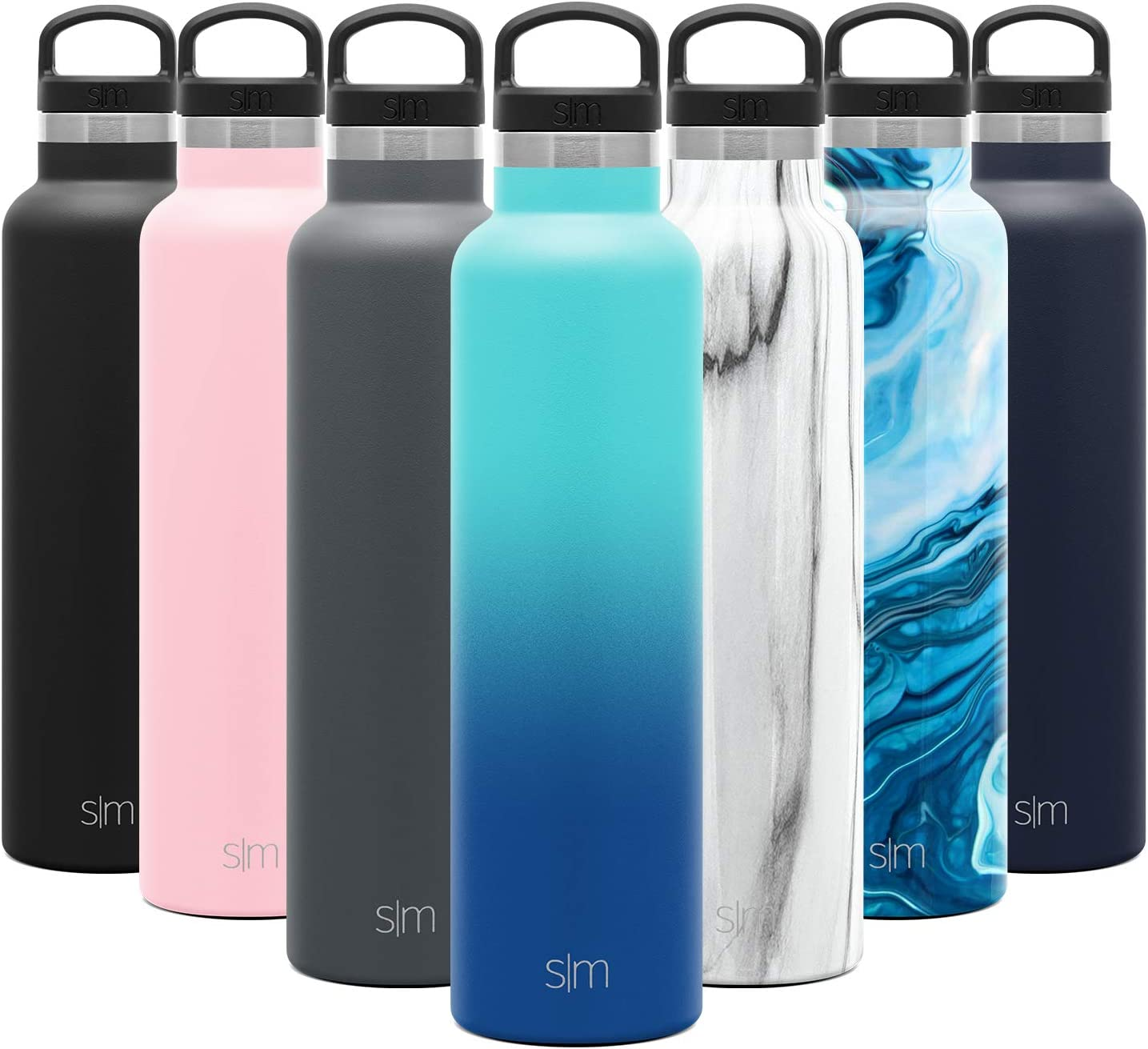 Simple Modern 24oz Ascent Water Bottle - Hydro Vacuum Insulated Tumbler Flask w/Handle Lid - Blue Double Wall Stainless Steel Reusable - Leakproof: Ombre: Pacific Dream