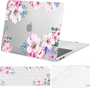 MOSISO Compatible with MacBook Air 13 inch Case 2020 2019 2018 Release A2337 M1 A2179 A1932 Retina Display with Touch ID, Plastic Prunus Flower Hard Shell&Keyboard Cover&ScreenProtector, Transparent