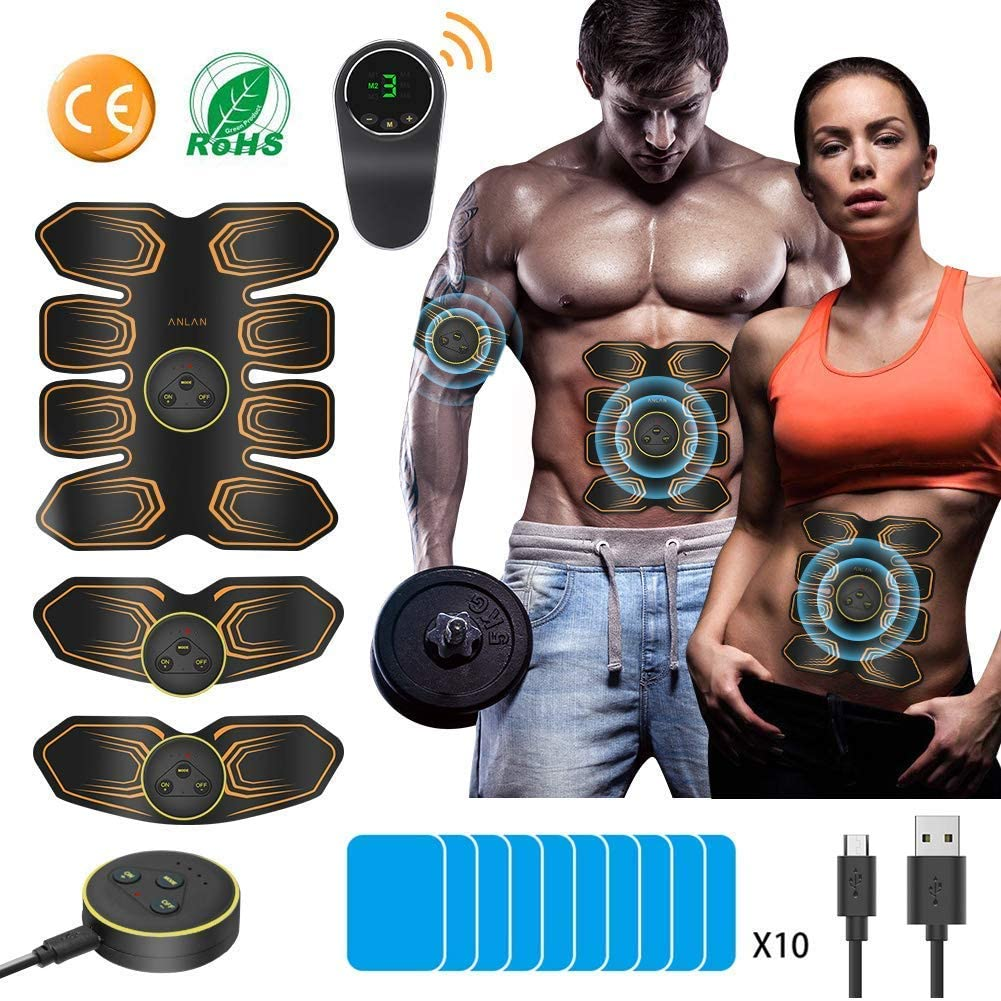 ANLAN AB Stimulator 8 Pack ABS Stimulator Rechargeable EMS Muscle Stimulator for Men Women AB Belt Trainer Abdominal Toning Belt Muscle Toner Electric Fitness Equipment for Abdomen Arm Leg AB Machine