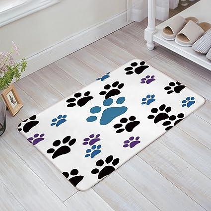CHARMHOME Dog Paw Prints Doormat Bathroom Rug Kitchen Door Mats 23.6(L) X  15.7