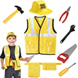 SATKULL Kids Construction Worker Costume Role Play Kit Set, Engineering Dress Up Gift Educational Toy Kids Halloween Boys Gifts