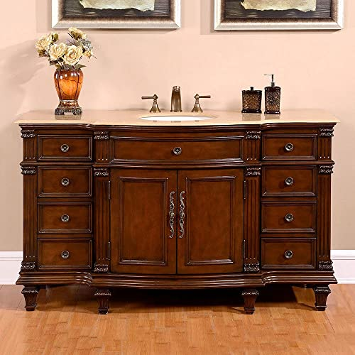 Silkroad Exclusive HYP-0277-T-UWC-60 Gorgeous Travertine Ceramic Top Single Sink Bathroom Vanity with Cabinet, 60 , Brown