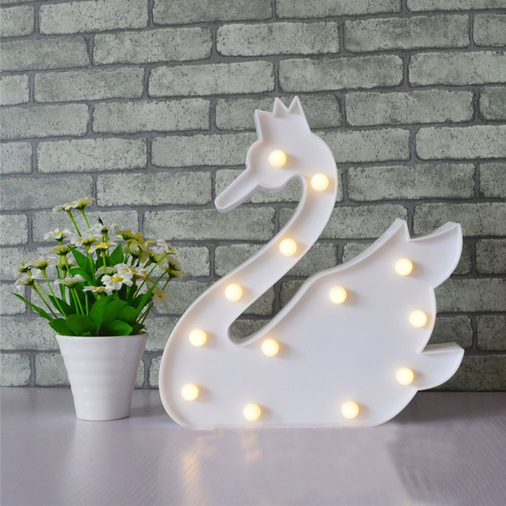 Warm Sweet and Lovely Style of A Variety of Cute Animals and Plant Shapes LED Night Nursery Llight (Swan White)