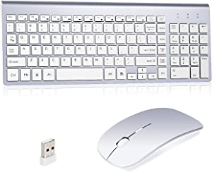 Wireless Keyboard and Mouse Combo, Kang RUI 2.4G USB Full Size Ultra Slim Compatible with MAC PC Laptop Ultra-Thin Laptop Desktop, Available for Windows OS Android DPI800/12200/1800 Mute (Silvery-2)