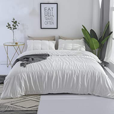 DuShow White Queen Duvet Cover Set Solid 3 Pieces Stripe Hotel Quality Comforter Cover Set with Zipper Closure Soft Seersucker Duvet Cover and 2 Pillow Sharms