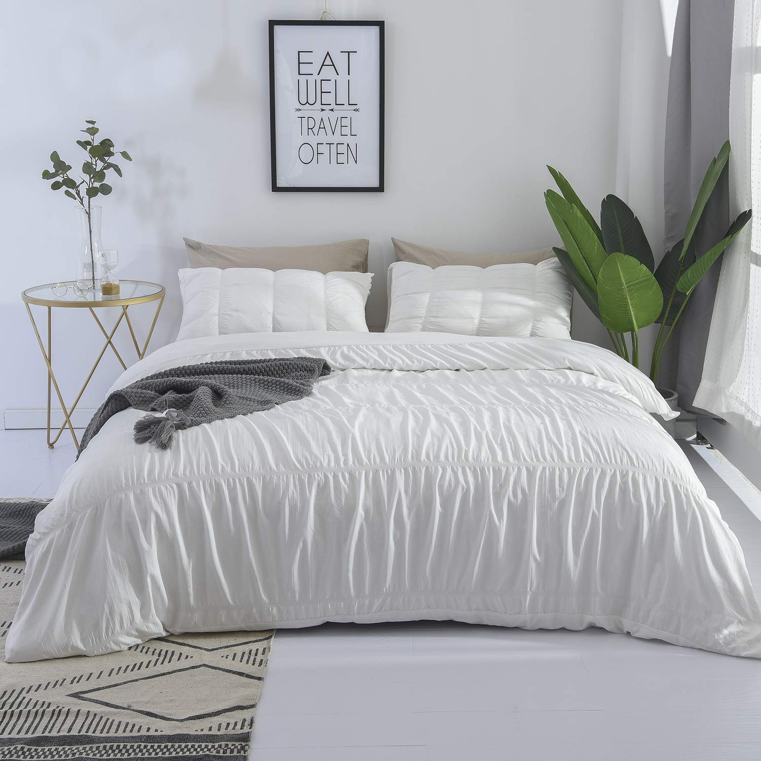 DuShow White Queen Duvet Cover Set Solid 3 Pieces Stripe Hotel Quality Comforter Cover Set with Zipper Closure Soft Hypoallergenic One Seersucker Duvet Cover and 2 Pillow Sharms