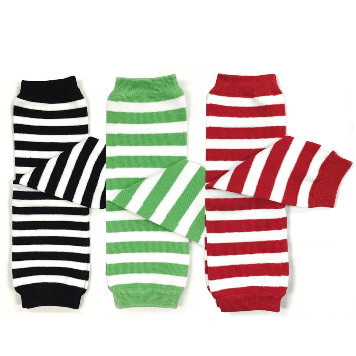 Red Green Bowbear Baby 3-Pair Leg Warmers Stripes in Black