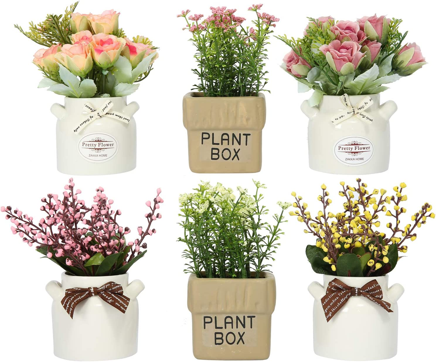 LUEUR 6Pcs Artificial Pot Flowers with Ceramic Potted Fake Flower Arrangements Small Faux Flower in Pots for Home Farmhouse Office Windowsill Table Centerpieces Shelf Decor