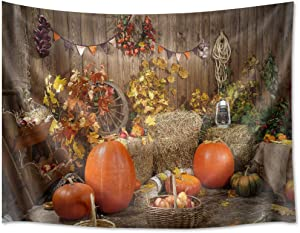 HVEST Fall Tapestry Decor Harvest Autumn Season Tapestry Wall Hanging Crops Pumpkin Wall Decor Farmhouse Scenery Background Wall Art Thanksgiving Tapestry for Bedroom Home Dorm Decor 60Wx40H inches