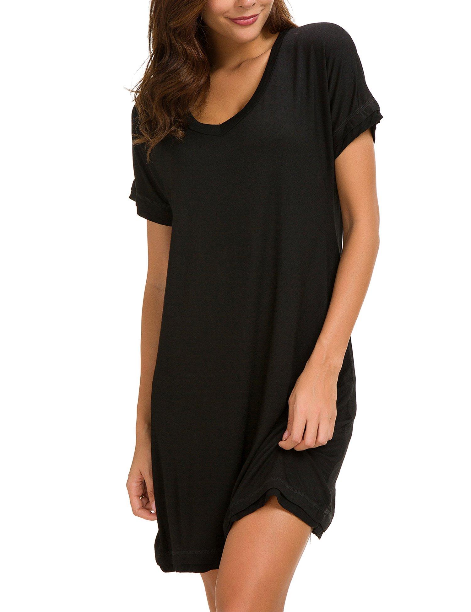 Dolay Women's Sleepwear Cotton Sleep Tee Short Sleeves Knit Sleepshirt (Black, XL) by Dolay (Image #5)