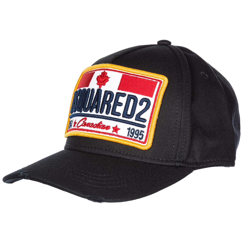 Dsquared2 adjustable men's cotton hat baseball cap Canadian Bros black BCM013505C000012124