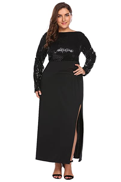 966090d9fd4 Zeagoo Women s Plus Size Long Sleeve Backless Sequined Split Evening Party  Maxi Dress
