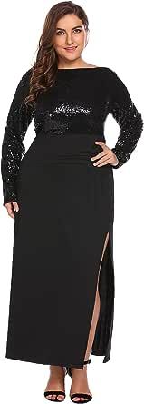 Zeagoo Women's Plus Size Long Sleeve Backless Sequined Split Evening Party Maxi Dress