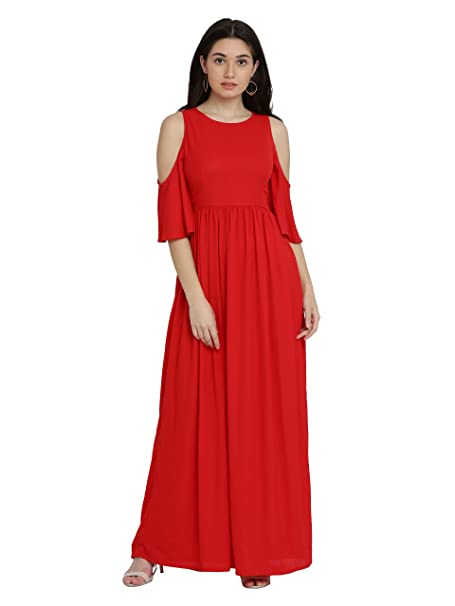 81a1ecd2f77 Miss Chase Women s Red Cold Shoulder Maxi Dress  Amazon.in  Clothing ...