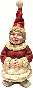 "Nowaday Gnomes - Christmas Mrs. Santa Claus Gnome in Holiday Outfit and Cooking Apron Statue 18"" H"