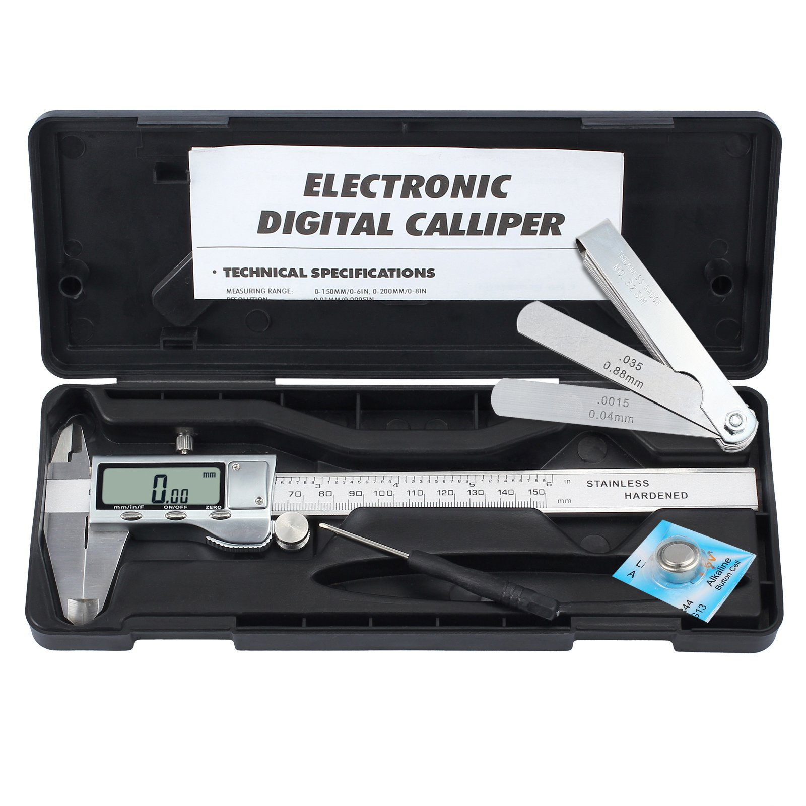 Digital Vernier Caliper + Feeler Gauge Neoteck 150mm/6Inch Stainless Steel Electronic Caliper Fractions/Inch/Metric Conversion Measuring Tool for Length Width Depth Inner Diameter Outer Diameter by Neoteck (Image #7)
